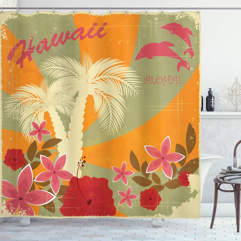 "Ambesonne Hawaiian Shower Curtain, Aloha Vintage Print Colorful Swirl Backdrop Dolphins Palm Trees Flowers, Cloth Fabric Bathroom Decor Set with Hooks, 70"" Long, Green Marigold"