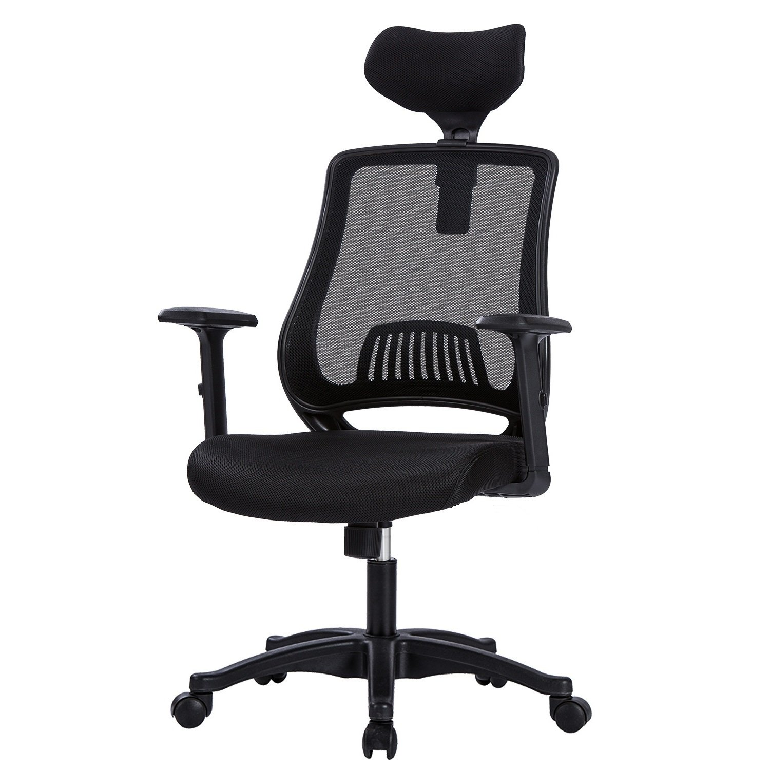 LIANFENG High Back Ergonomic Office Chair - Mesh Computer Desk Task Chair with Adjustable Headrest and Armrests, Built-in Lumbar Support, Black