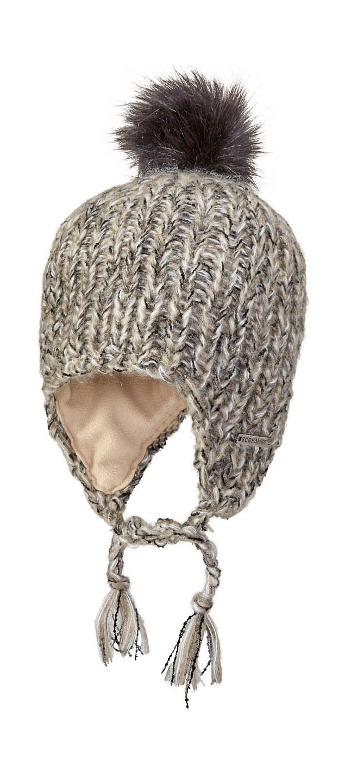 Screamer Women's Abby Knit Cap Faux Fur Pom Hat, Laitte Linen, One Size