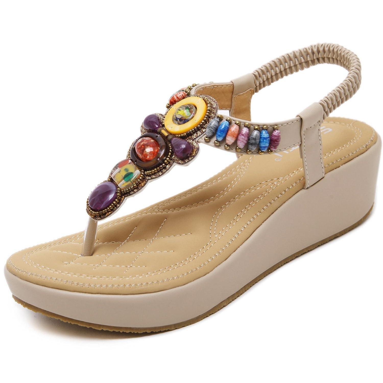 Damen Zehentrenner Sandalen Bohemia Keilabsatz Strass Frauen Sommer Schuhe  37 EU|Gelb