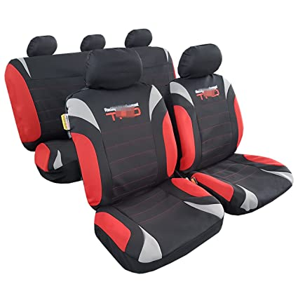 NEW Wolf Charcoal Gray Red Racing Sports Poly Embroidery Airbag Car Seat Cover For Truck Pickups