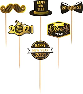 Ercadio 48 Pack Happy New Year 2021 Cupcake Toppers with Hat Tie Mustache hello 2021 New Year's Eve Cupcake Picks 2021 Holiday Celebrating Party Cake Decoratons Supplies