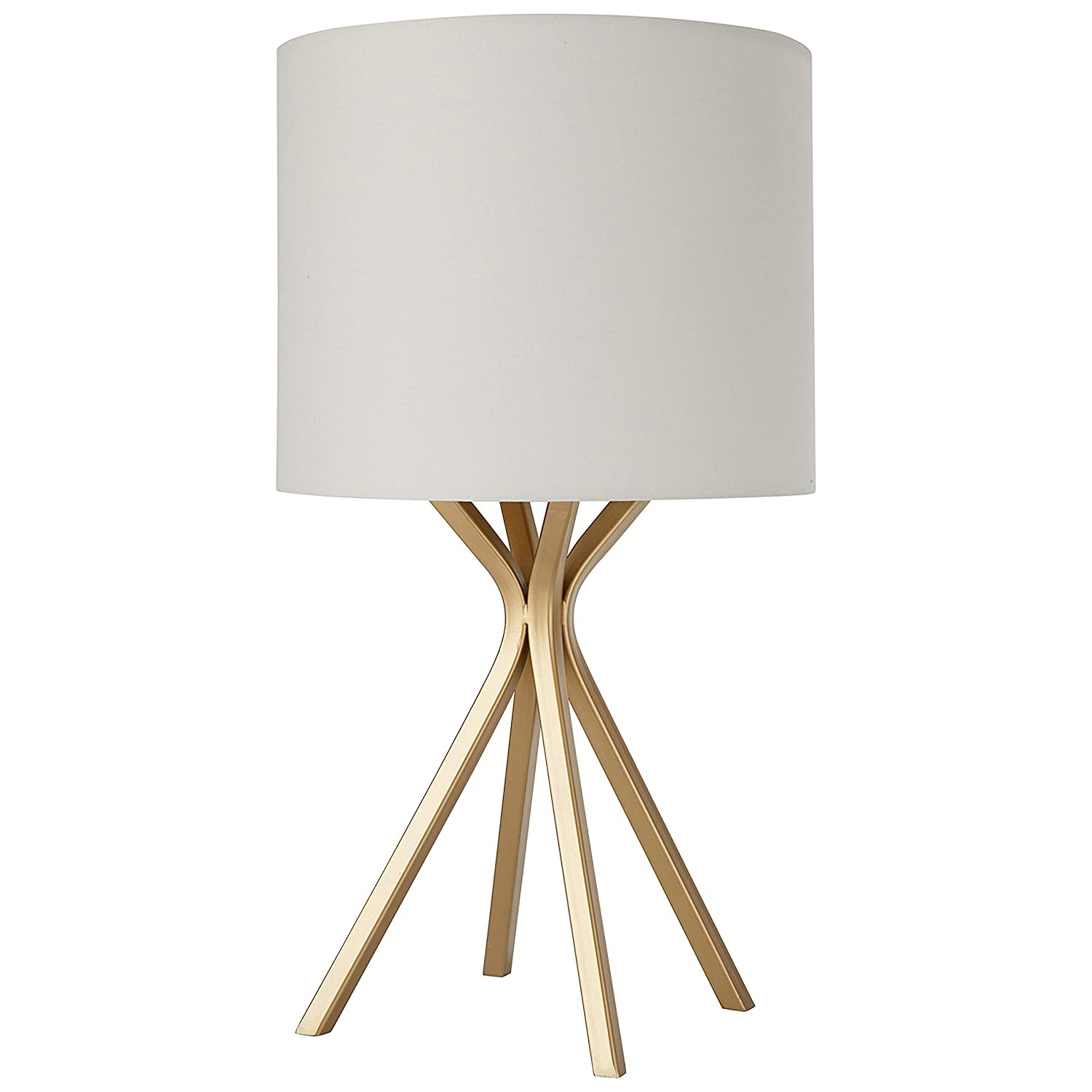 """Rivet Gold Table Lamp, 18""""H, with Bulb, with Drum Linen Shade"""