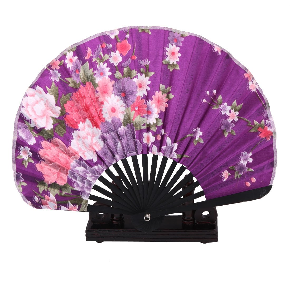 uxcell Bamboo Flower Print Dance Cooling Folding Hand Fan Display Holder 2 in 1 Purple