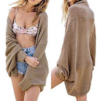 imixlot Women Oversized Batwing Sleeve Knitted Sweater Tops Loose Cardigan  Outwear Coat (One Size) 975f3ca1a