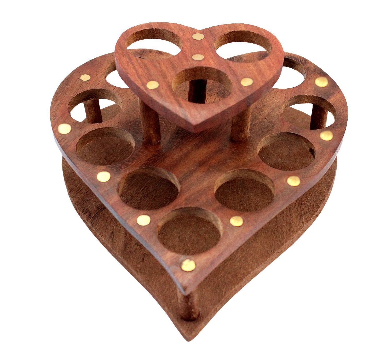 IndiaBigShop Wooden Lipstick Makeup Organizer Cosmetic Storage with Heart Shape 10 Spaces for Store Lipstick, Bottles, Brushes and More 6 Inch