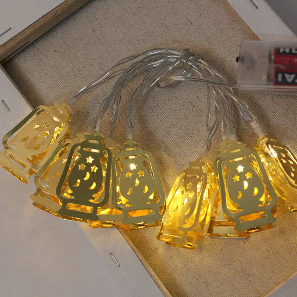 Bunt VNEIRW 10 LEDs Lichterkett Batterie Home Party Dekor Lichter Garten Lampe f/ür Zimmer Dekoration Tolles Geschenk IP20 /Öllampe Form Muslim Ramadan und Eid Decor Lights