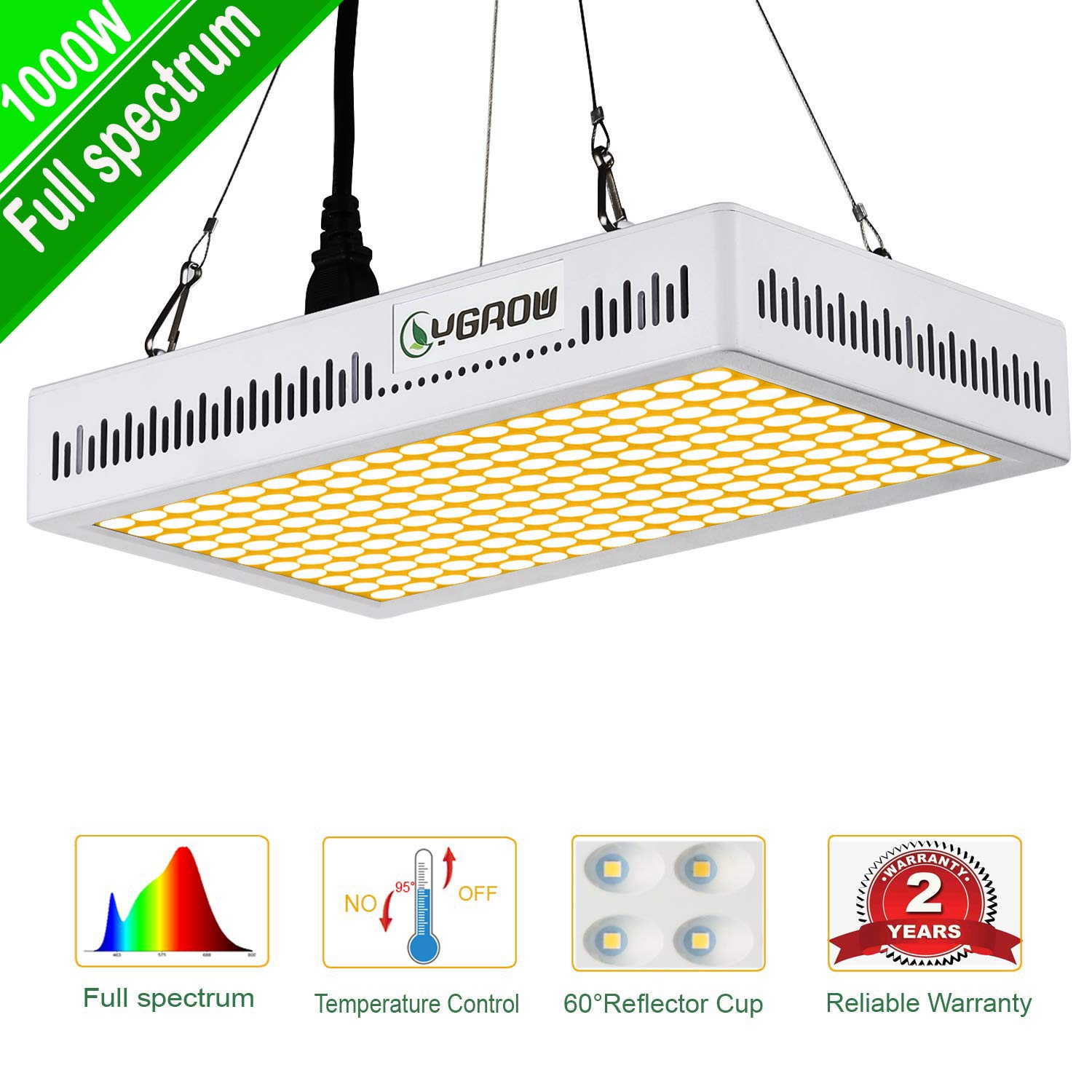 LED Grow Lights Full Spectrum,1000W YGROW Update Light Plant Bulbs Growing Light Bulb for Indoor Plants Veg and Flower with Heatproof Casing 3500K by YGROW