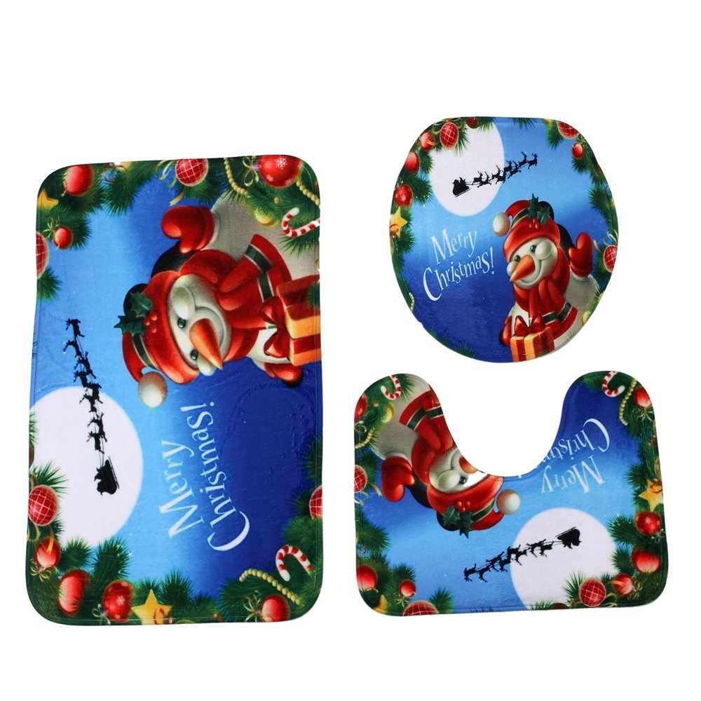 Cartoon Santa Claus Merry Christmas Snowman Bath Mat Set,3 Piece Bathroom Mats Set Non-Slip Bathroom Rugs//Contour Mat//Toilet Cover