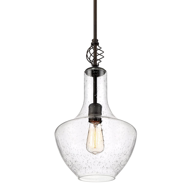 """Revel/Kira Home Sydney 15"""" Pendant Light + Vase Style Seeded Glass Shade, Adjustable Height, Oil Rubbed Bronze Finish"""