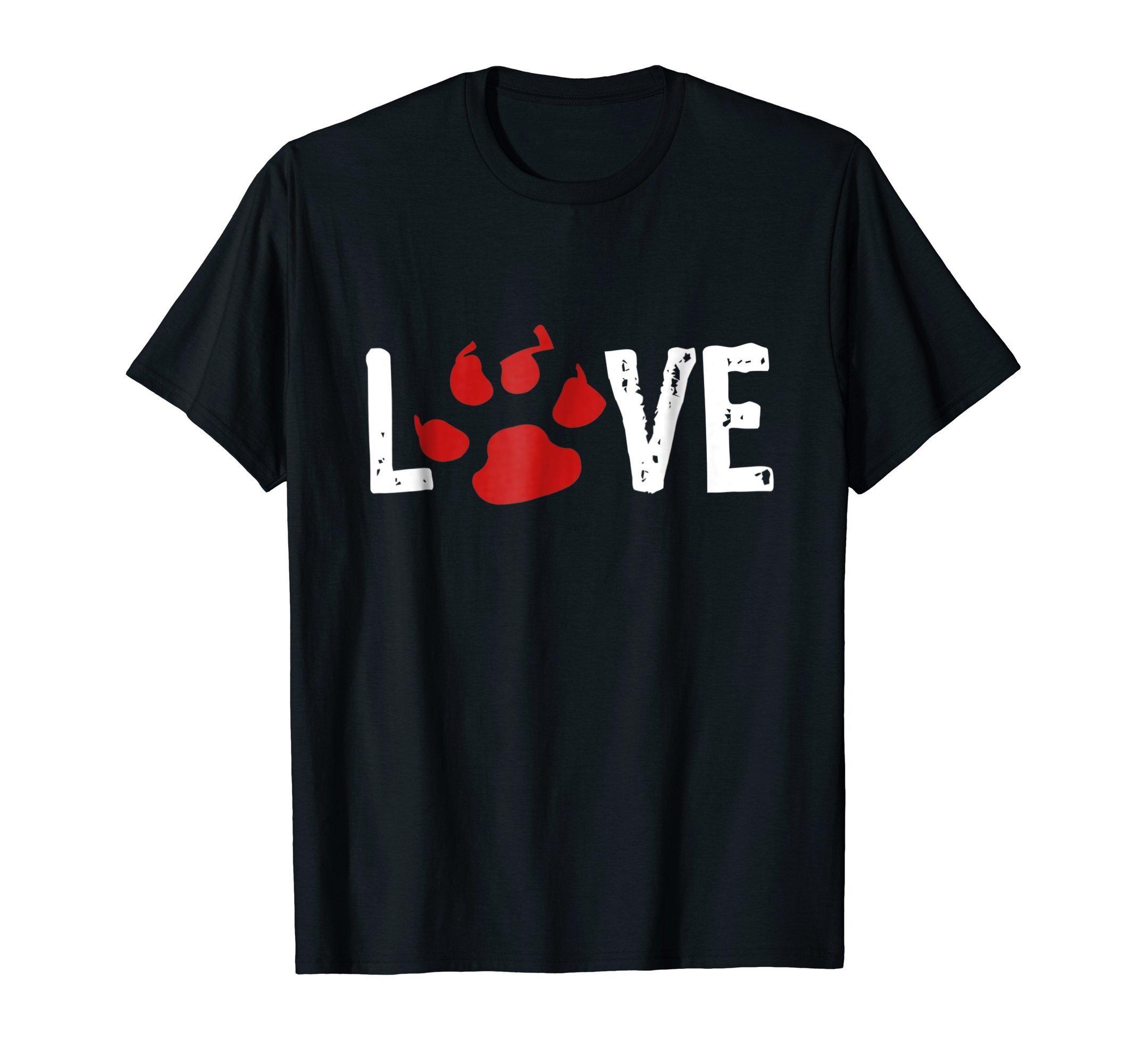 Love Animal Shirt Love Red Paw Print Cat Dog Pet Lover