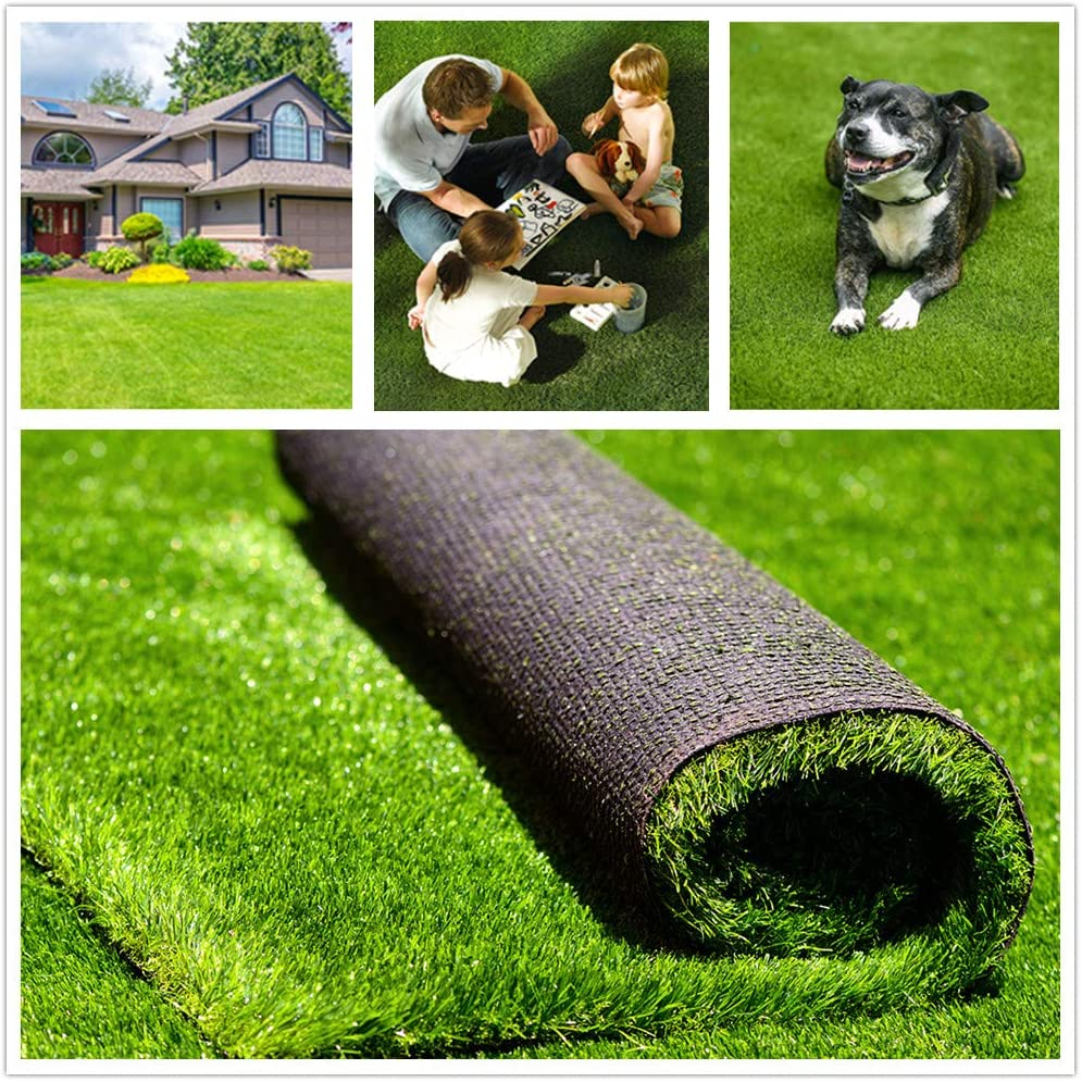 """Fas Home Artificial Grass Turf 4FTX6FT(24 Square FT), 1.38"""" Pile Height Realistic Synthetic Grass, Drainage Holes Indoor Outdoor Pet Faux Grass Astro Rug Carpet for Garden Backyard Patio Balcony"""