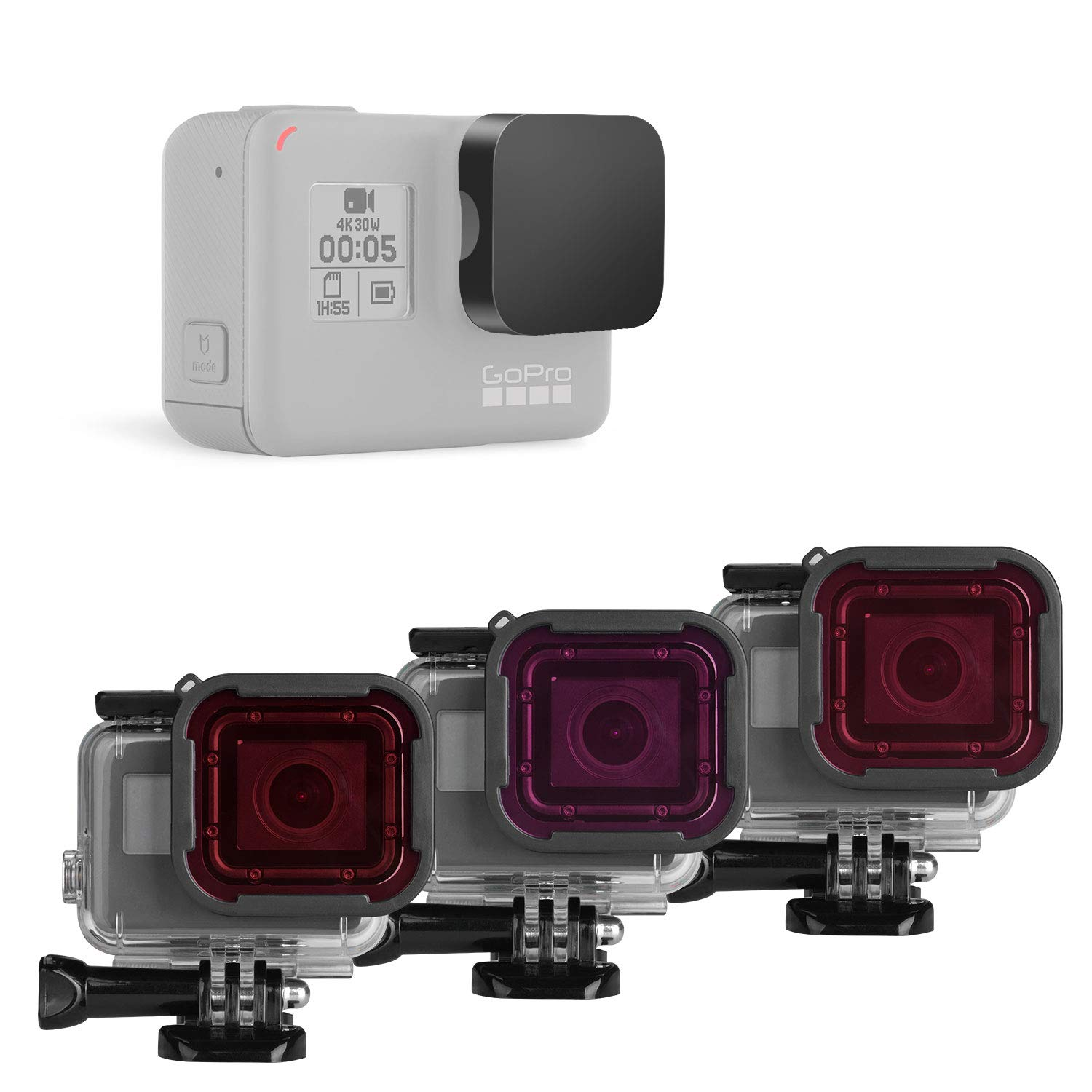 Red Light Red Magenta Color Correction Filter Compatible for GoPro Hero 7 6 5 Black Official Super Suit Housing for Tropical Blue Water Diving Underwater Scuba Photography 3in1 Dive Lens Filter Kit