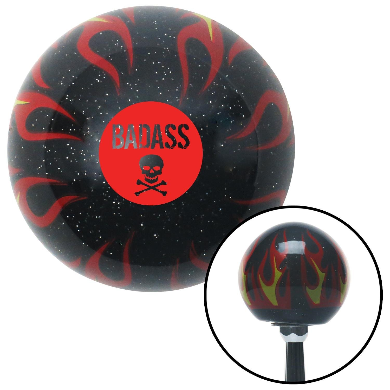 American Shifter 294538 Shift Knob Red Badass Badge Black Flame Metal Flake with M16 x 1.5 Insert