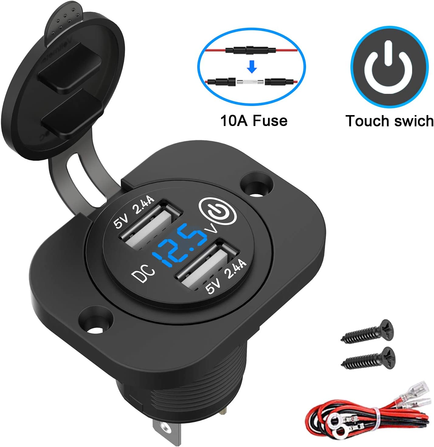 Dual 2.4A USB Car Charger with Waterproof Cover and Panel for Motorcycle ATV Camper Tractor Truck Marine Boat Qidoe 12V//24V USB Socket Outlet with Touch Switch and Digital Voltmeter Upgraded Version