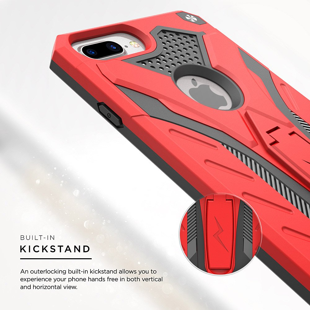 Zizo iPhone 8 Plus Case//iPhone 7 Plus Case, w//Kickstand iPhone 8 Plus Heavy Duty Case Static Series Military Grade Drop Tested Shockproof