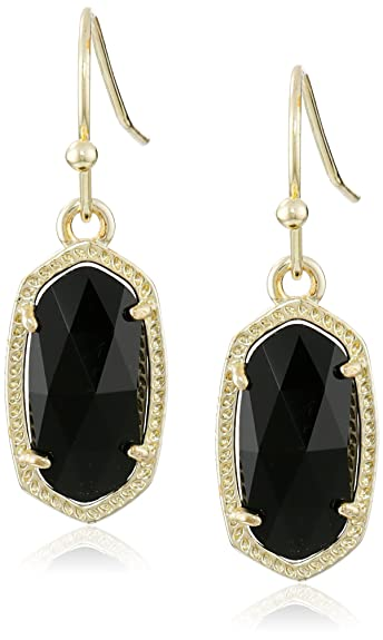 "fcc4a5caa Kendra Scott ""Signature"" Lee Gold plated Black Glass Drop Earrings"