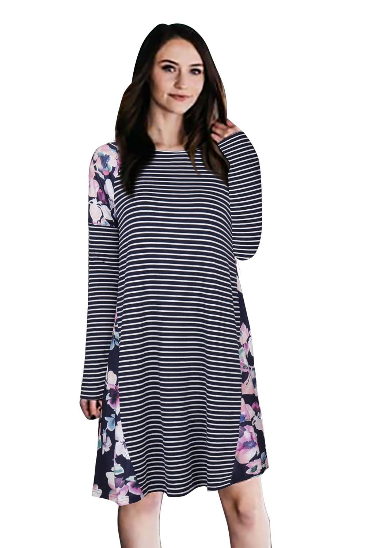Navy bluee Shegalen Women's Casual Loose Striped Dress Long Sleeve Dress