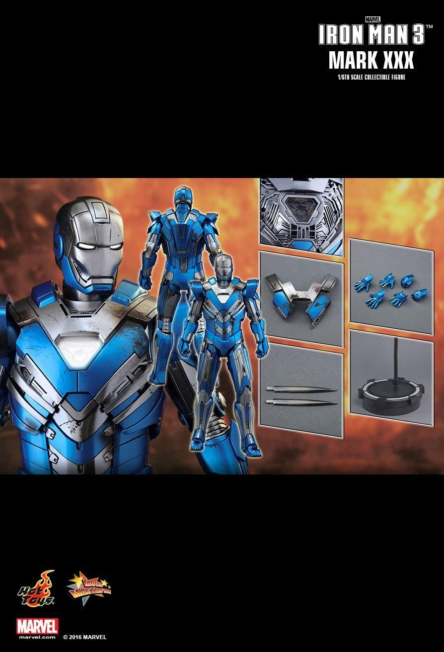Hot Toys MMS391 - Marvel Comics - Iron Man 3 - Iron Man Blau Steel Mark XXX