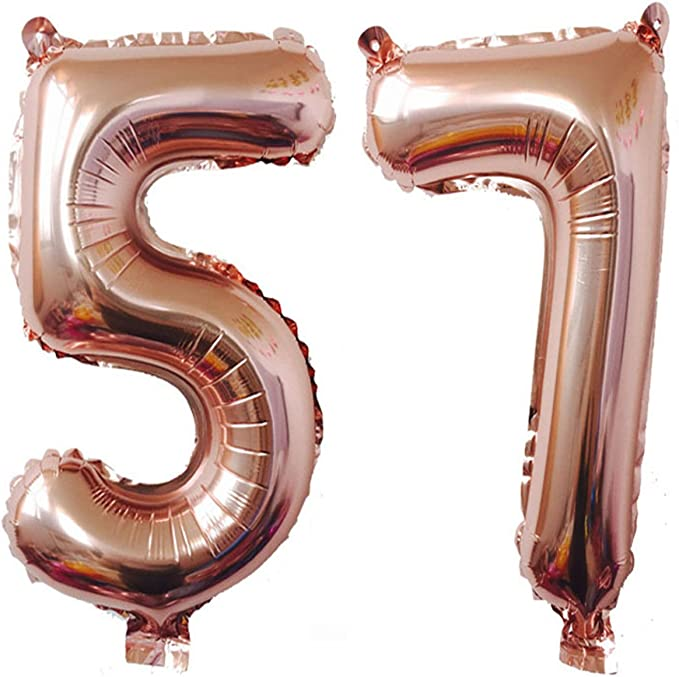 Balloons Pink and Rose Gold Theme Banner 57th Birthday Decorations For Her