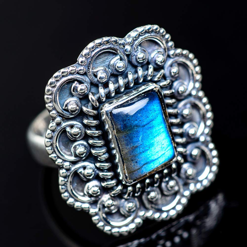 925 Sterling Silver - Handmade Jewelry Vintage RING943076 Ana Silver Co Labradorite Ring Size 7 Bohemian