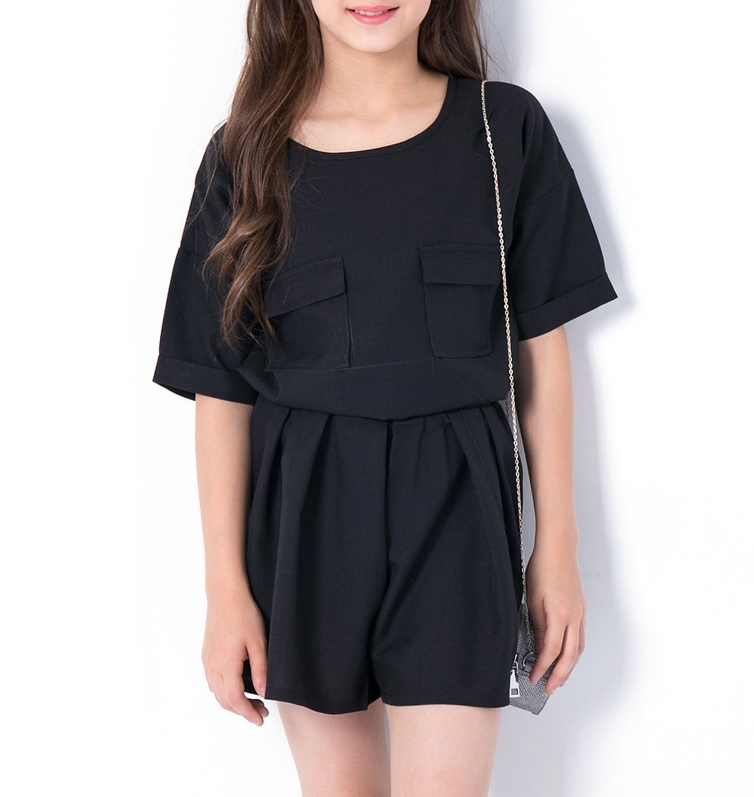 Zcaosma Teenage Girls Clothing Sets Two-Piece Tops Shorts Girls Suits,Black,12