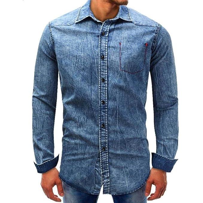 Resplend Camisa básica sólida de la Blusa del sólido del Dril de algodón de los Hombres