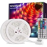 Ksipze Tiras LED 10m, Luces LED RGB con Control Remoto y Fuente de Alimentación de 12V, 20 Colores y 8 Modos de Escena…