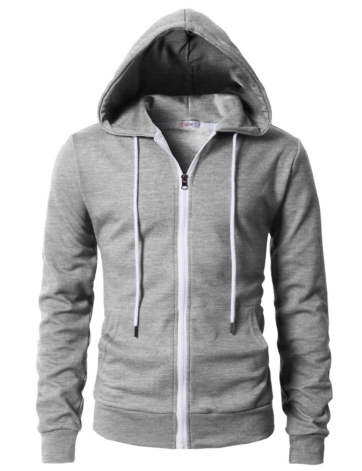 H2H Mens Regular Fit Long Sleeve Lightweight Contrast Zip-up Hoodie Gray US L/Asia XL (KMOHOL0131)