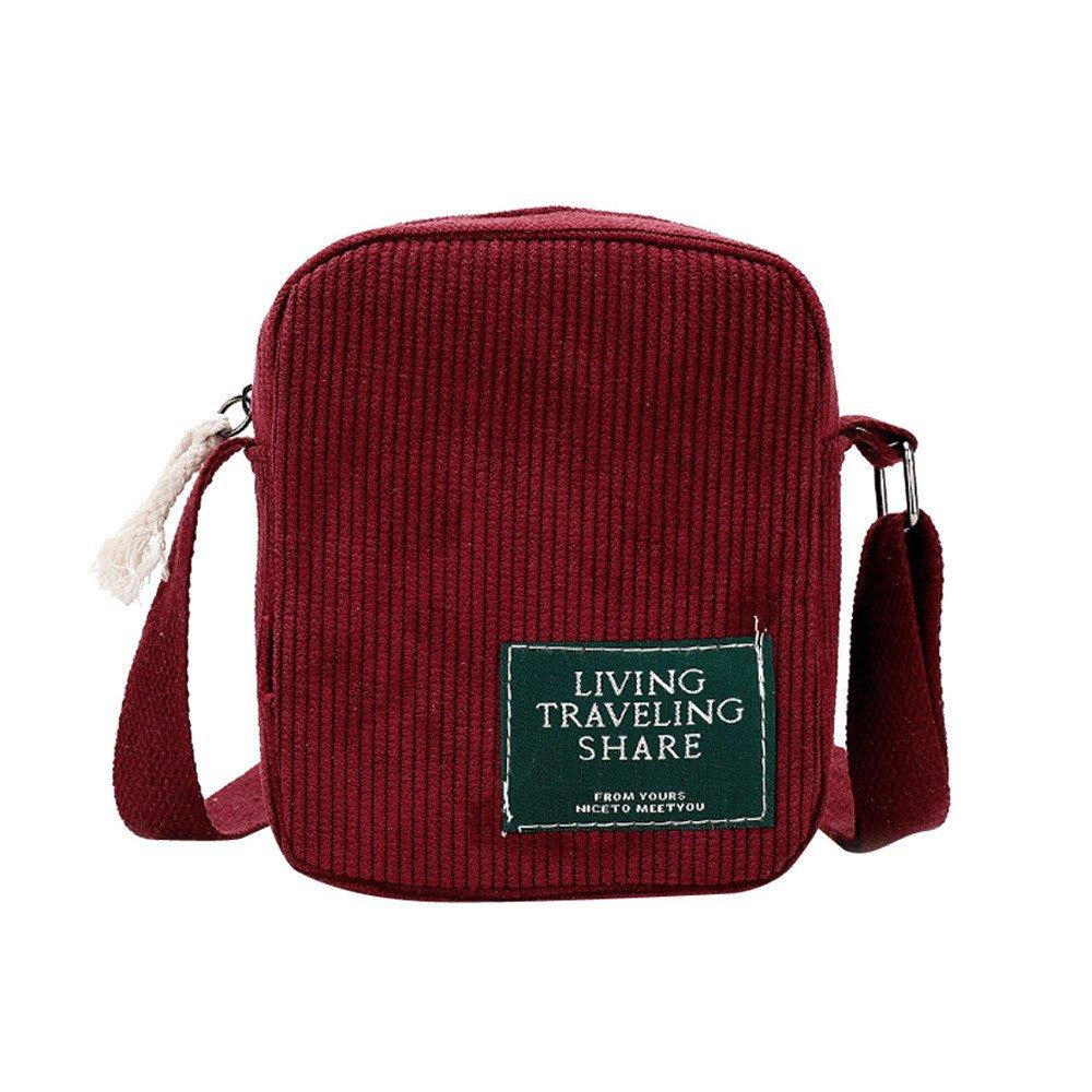 Fashion Women Pure Color Corduroy Crossbody Bag Phone Bag Shoulder Bag