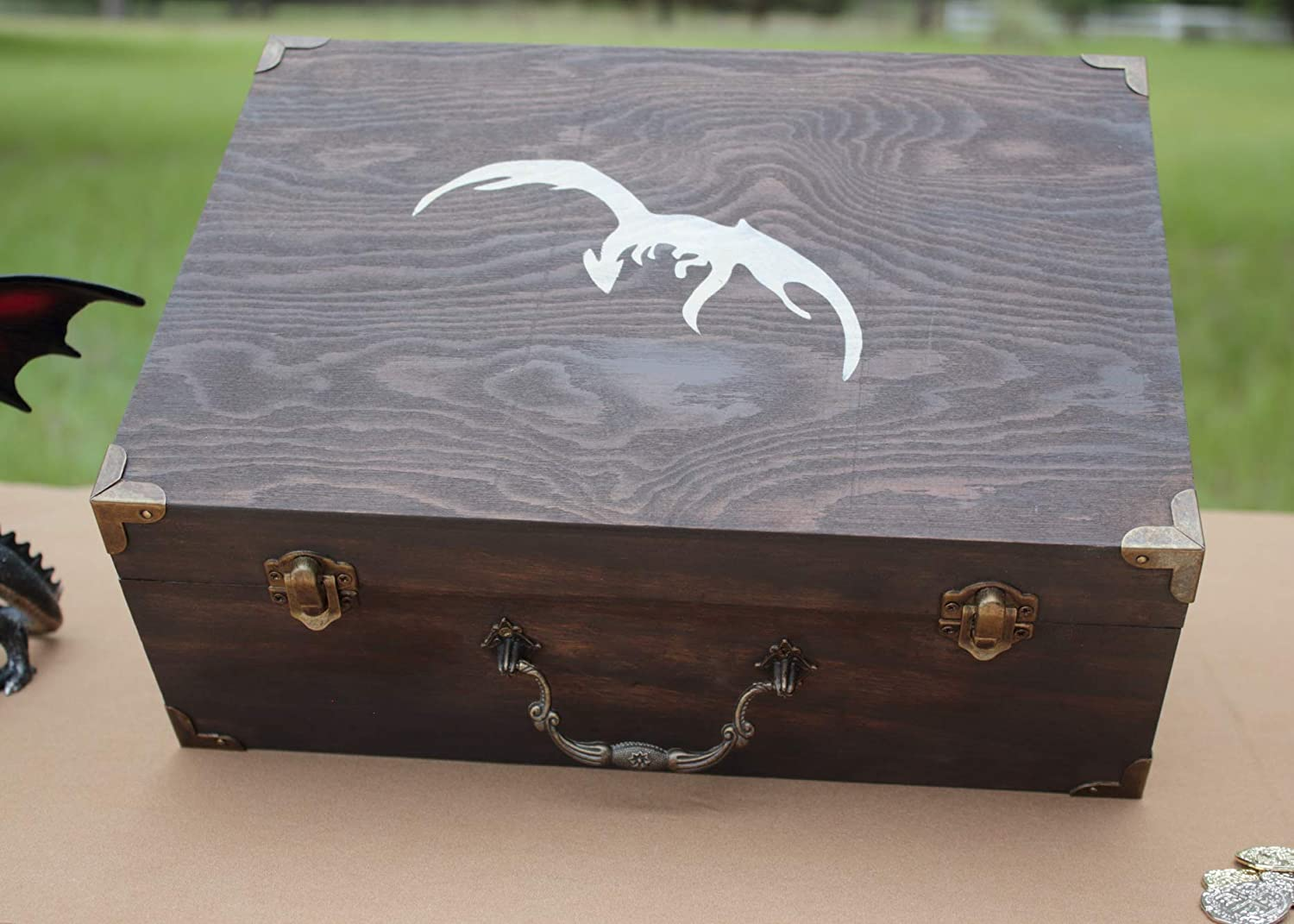 Large Dragon Wooden Box Hand Painted for Displaying Dragon Egg (Eggs NOT included)