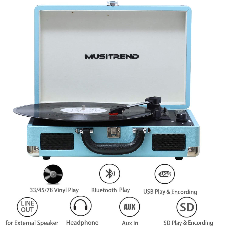 MUSITREND Tocadiscos Bluetooth, Reproductor de Vinilo 33/45/78 ...