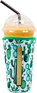 YUESUO Reusable Iced Coffee Cup Insulator Sleeve for Cold Beverages and Neoprene Holder for Starbucks Coffee, McDonalds, Dunkin Donuts, More (Cactus, 30oz - 32oz)