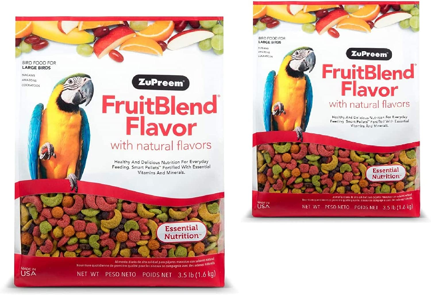 ZuPreem FruitBlend Flavor Pellets Bird Food for Large Birds | Powerful Pellets Made in The USA, Naturally Flavored for Amazons, Macaws, Cockatoos