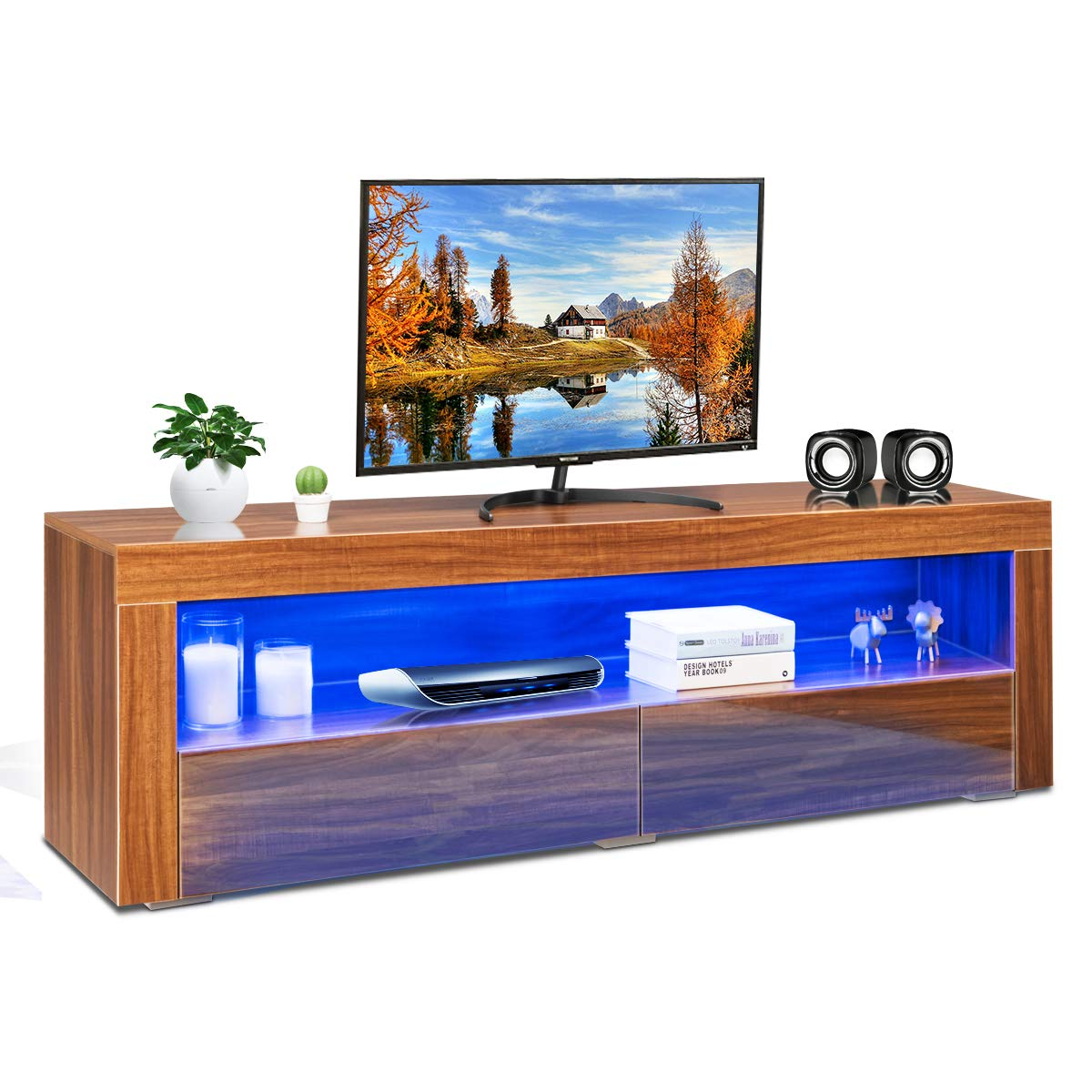 Tangkula Modern TV Stand with LED Lights, High Gloss Media Console Storage Cabinet, TV Cabinet with an Open Shelf and 2 Drawers, TV Console Storage Cabinet with Remote Control, Coffee by Tangkula
