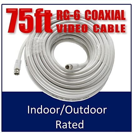 75 FEET RG-6 WHITE 75 OHM COAX INDOOR/OUTDOOR CABLE SATELLITE TV