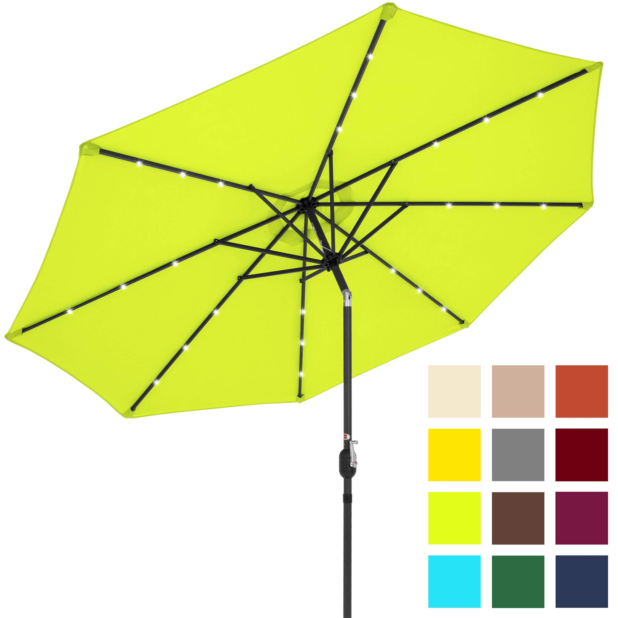 Best Choice Products 10ft Solar LED Lighted Patio Umbrella w/Tilt Adjustment - Light Green by Best Choice Products