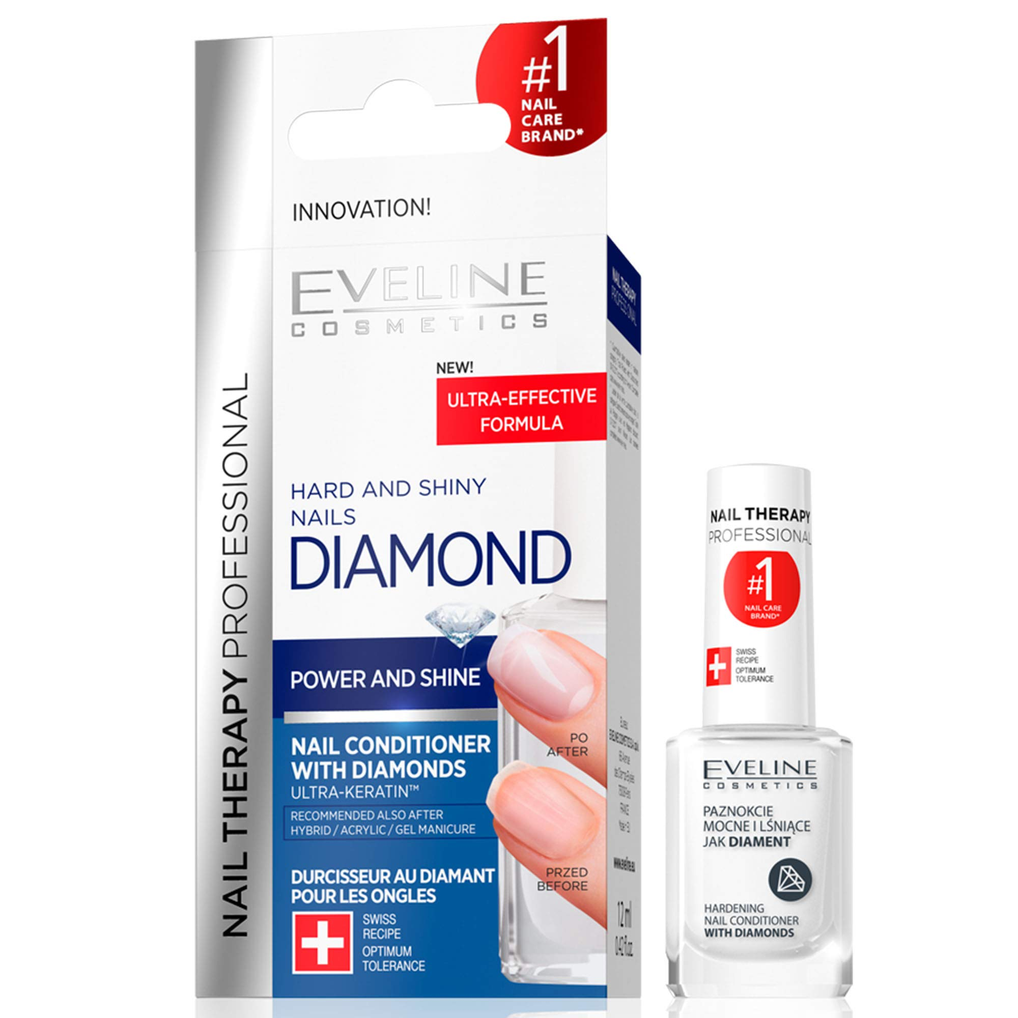 Eveline Cosmetics Diamond Nail Professional Therapy Conditioner Hardener Strengthener   12 ML   Repair Treatment Nail Serum   Formaldehyde-free   Titanium Formula