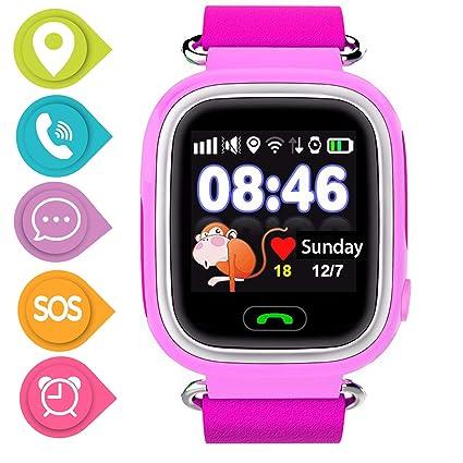 SmartWatch Teléfono Niño Niña, Pantalla táctil Reloj Inteligente Localizador GPS LBS WiFi con Chat de Voz SOS Cámara Despertador Reloj Digital Watch ...