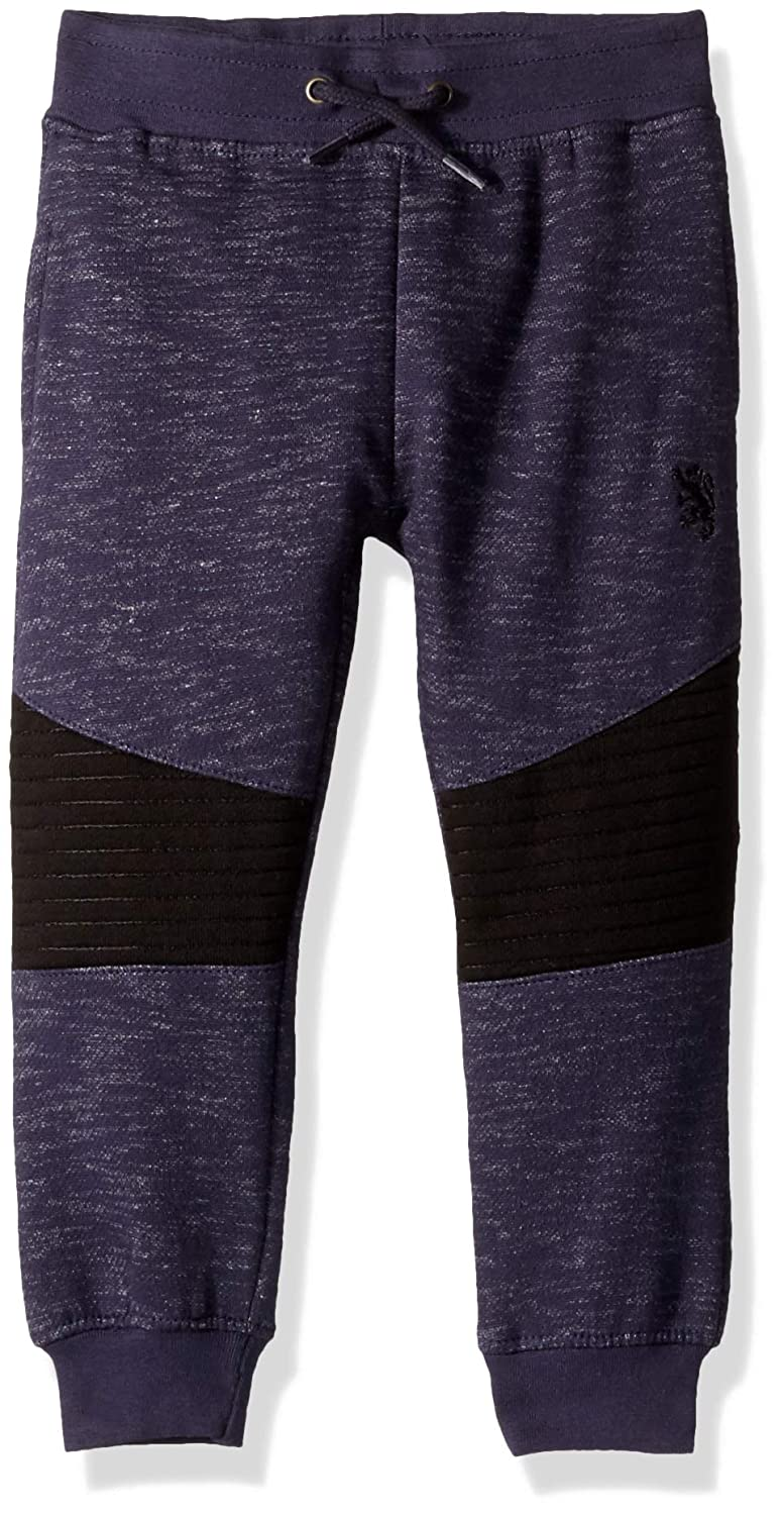 English Laundry Boys' Toddler Quilted Knee Fleece Jogger Midnight 3T