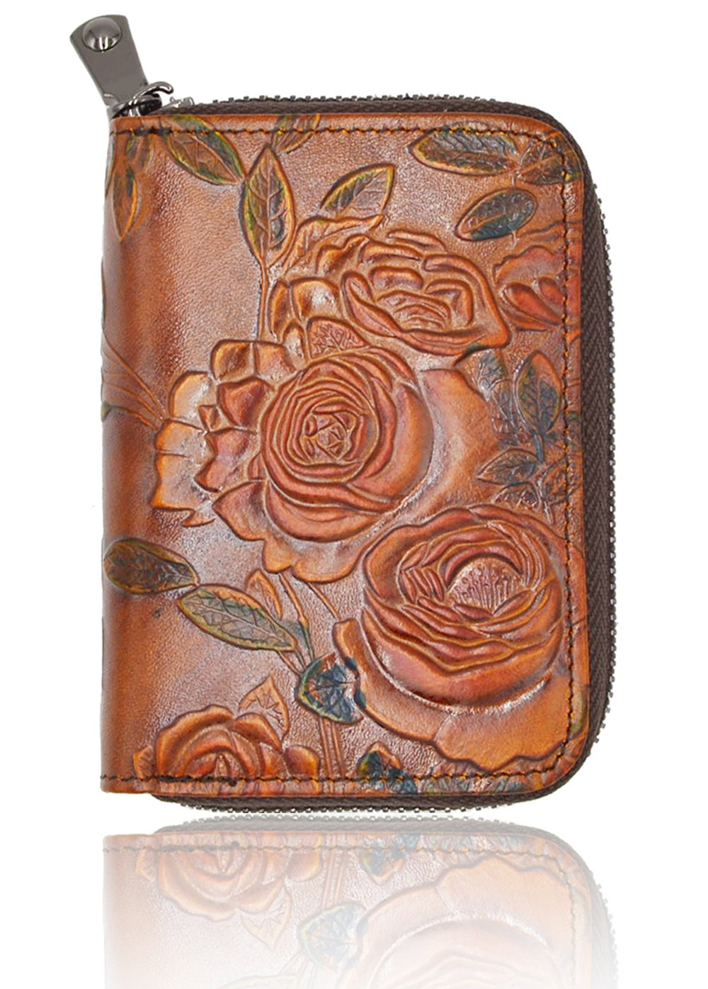 RFID Blocking Credit Card Holder for Women - Leather Zipper Card Case Minimalist Accordion Wallet Hand-Painted Color by Freezx (Image #1)
