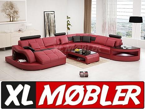 Mega divano componibile enzo xxl led nero rosso: amazon.it: casa e