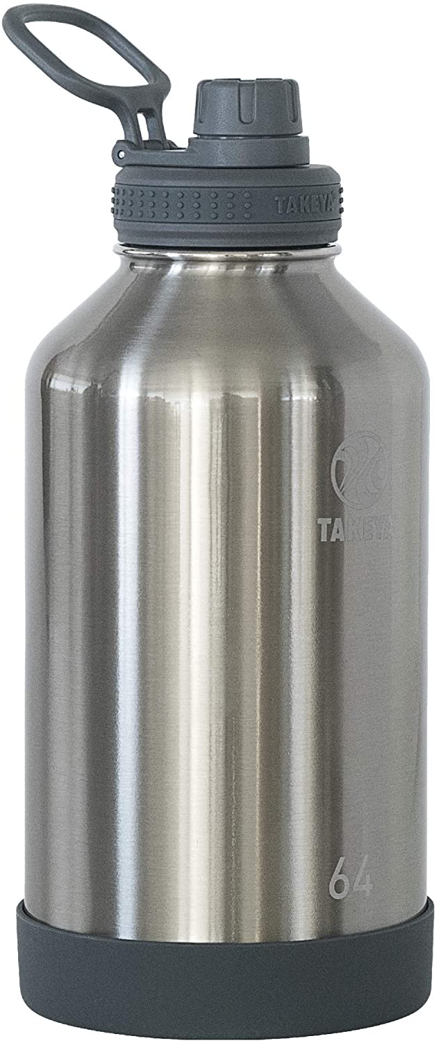 Takeya Actives Insulated Stainless Steel Water Bottle with Spout Lid, 64 oz