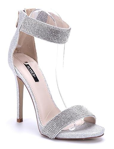 026c9b2c412072 Schuhtempel24 Damen Schuhe Sandaletten Sandalen Silber Stiletto Glitzer  Ziersteine 12 cm High Heels