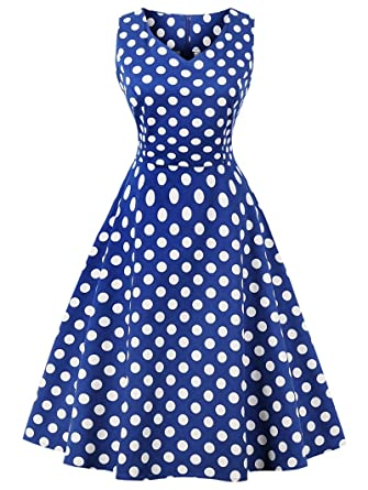 f24d756ec1d CMKEJI Women Vintage 1950s Polka Dot Rockabilly Dress Sleeveless Retro  Evening Prom Cocktail Party Wedding Homecoming Midi Swing Dress  Amazon.co. uk  ...