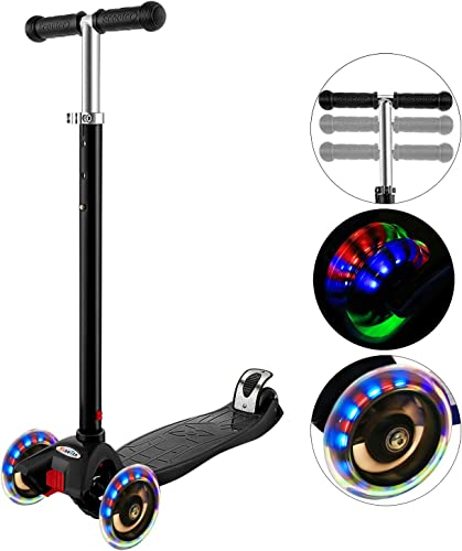 Hikole Scooter for Kids with 3 LED Wheels Adjustable Height, Lean to Steer Design, 3 Wheels Kick Scooter for Girls Boys 2-12 Years Old