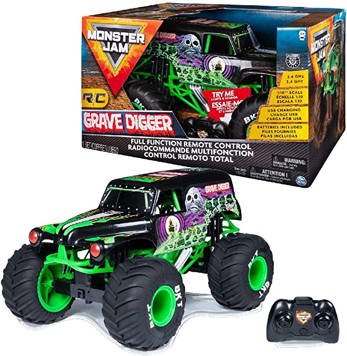 Monster Jam 6044994 Rc Grave Digger 1 10 Scale Truck Amazon Co Uk Toys Games