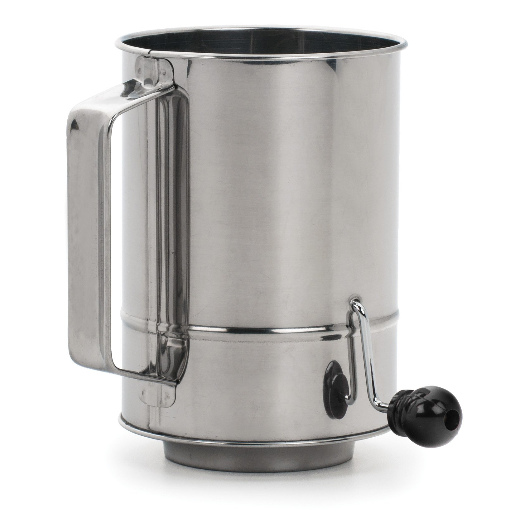 RSVP SIFT-5CR Endurance Stainless Steel Crank Style Flour Sifter, 5 Cup