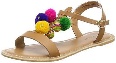 Womens Pom Tassle Open-Toe Sandals New Look PzSlLoKFKy