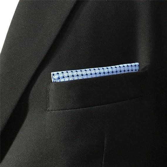 Shlax&Wing Nuevo La Moda Hombre Seda Pañuelo De Bolsillo Para Azul Color Sólido 32cm